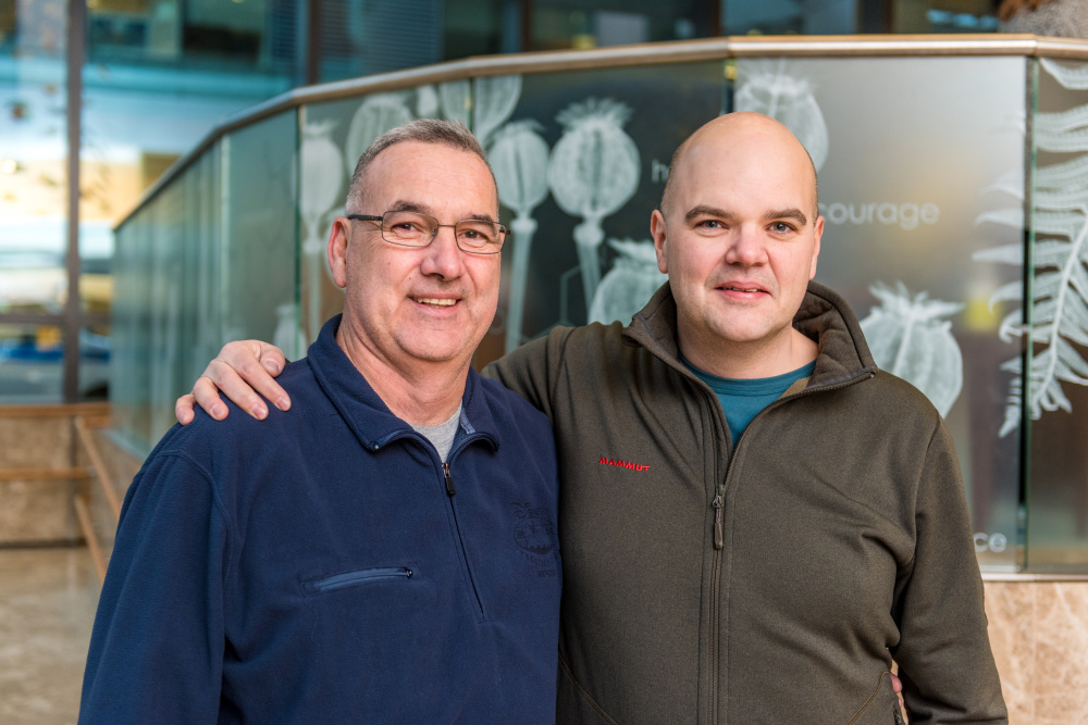 "Charles ""Chuck"" Vanada and his stem cell donor, Tobias Gillman."