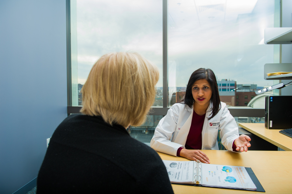 Huma Q. Rana, MD, Clinical Director of Cancer Genetics and Prevention at Dana-Farber. The Center for Cancer Genetics and Prevention performs genetic testing for breast cancer and offers other services as well.