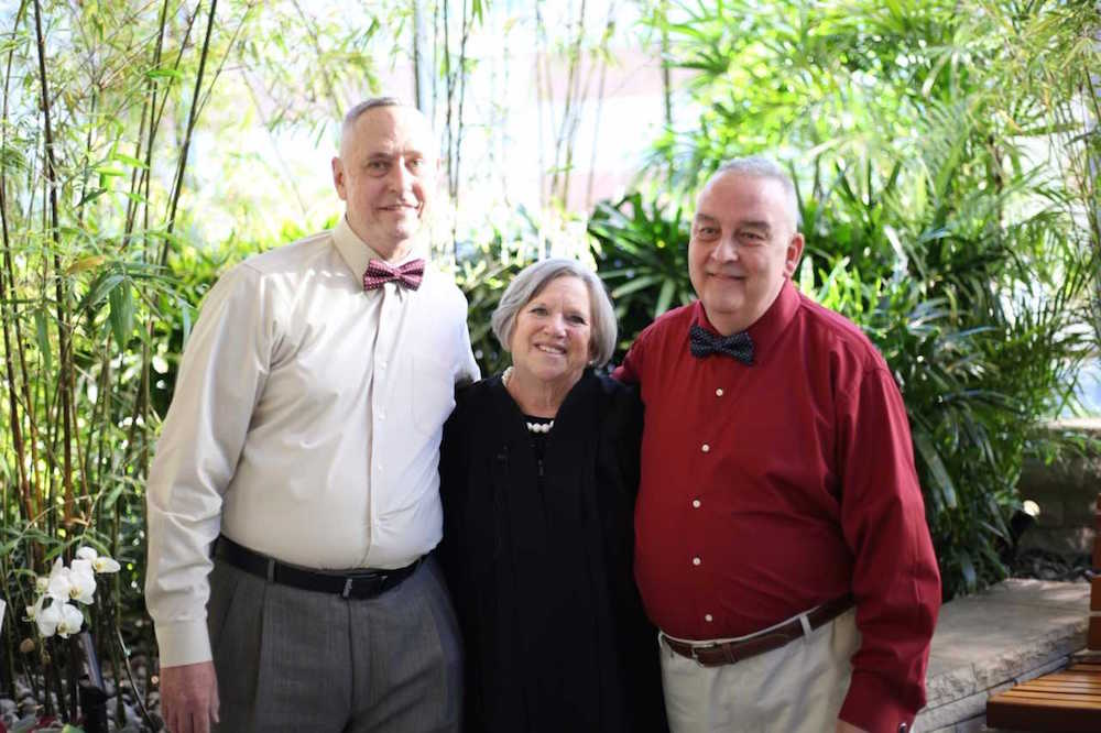 Kevin Kelley, Justice of the Peace Priscilla Geaney, and Tim Bergeron.