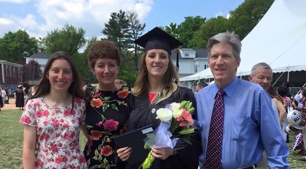 Alex Berking (second from right) with her parents and sister Meghan at Alex's college graduation in 2015.