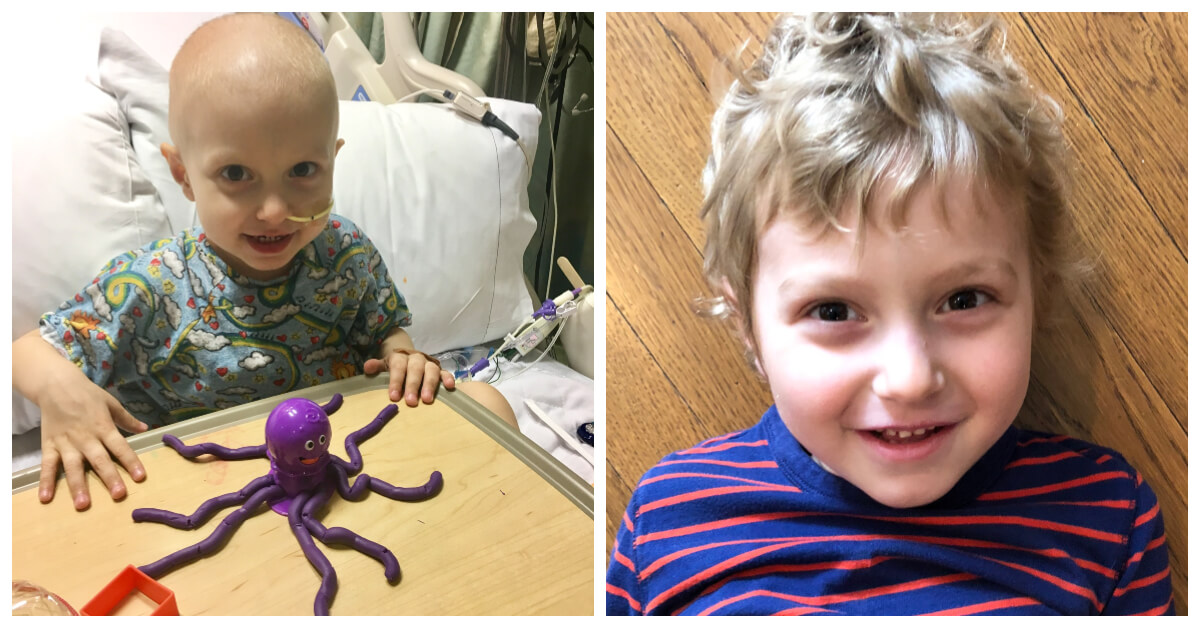 Ziad right before his second TACE procedure (left), and Ziad today (right).