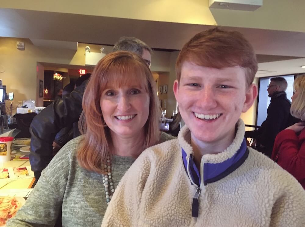 Drew with his mother, Jen, in New York City.