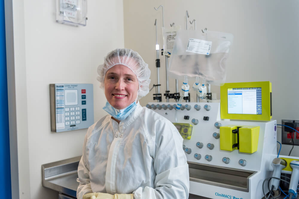 Sarah Nikiforow, MD, PhD, in Dana-Farber's CMCF Novel Cell Therapy (NCT) lab.