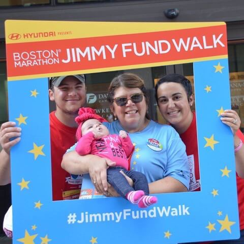 DeCosta, her son Logan and daughter-in-law, Danielle, and grand-daughter Henley at the Jimmy Fund Walk.