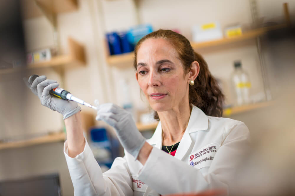 Kimberly Stegmaier, MD, in her lab.