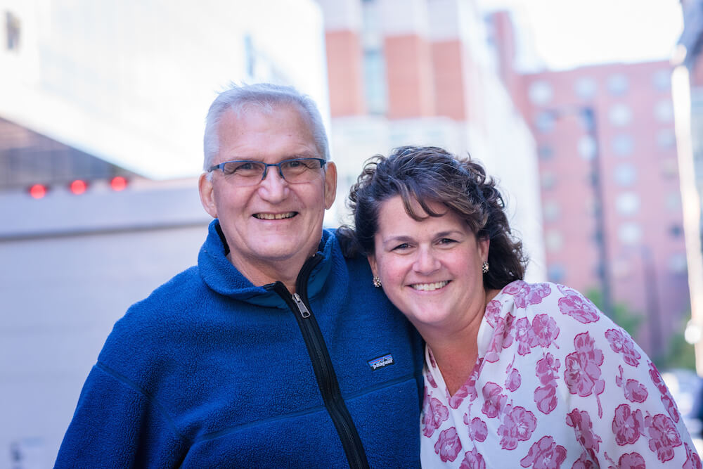 Dennis Gorden and Rebecca Nutley were both treated for cancer at Dana-Farber.