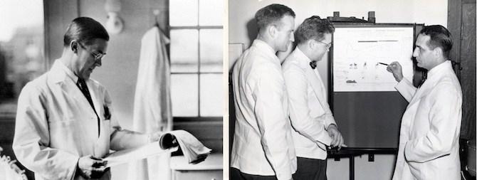Kenneth Blackfan (1929) and Louis Diamond (far right, 1949) with fellows. (Boston Children's Hospital Archives)