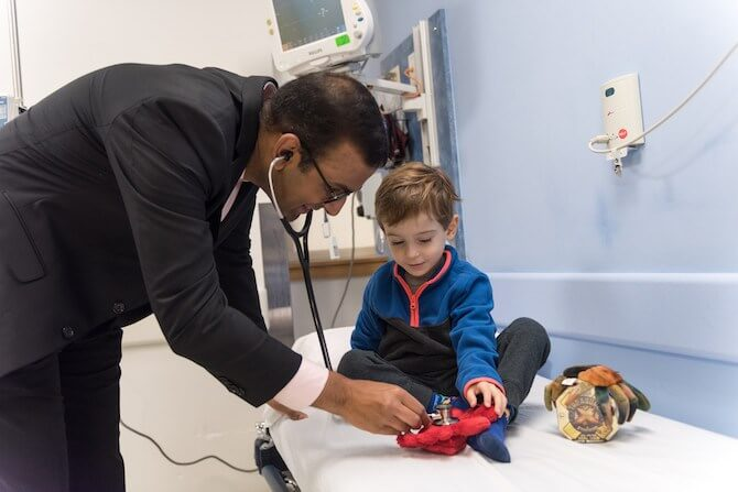 Hematologist Vijay Sankaran with Jack Farwell (Photo: Michael Goderre/Boston Children's Hospital)