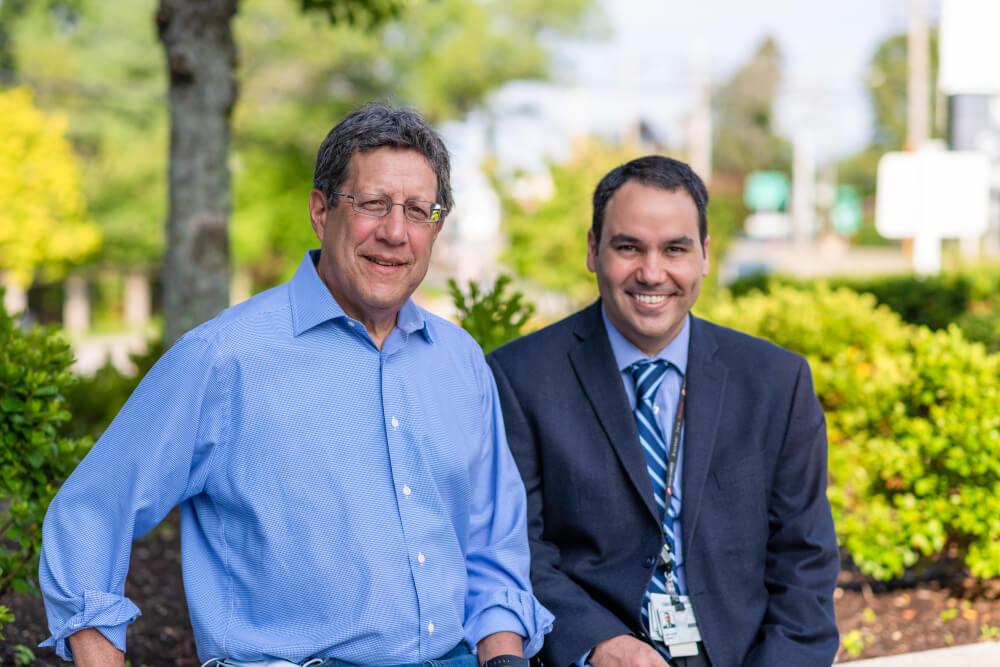 Breast cancer patient Michael Tichnor with his doctor, Jose Pablo Leone, MD.